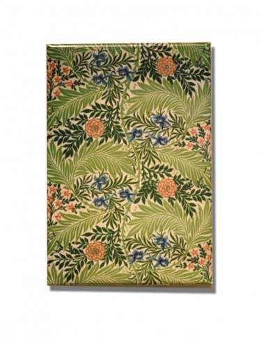 Rectangular fridge magnet decorated with William Morris's Larkspur design