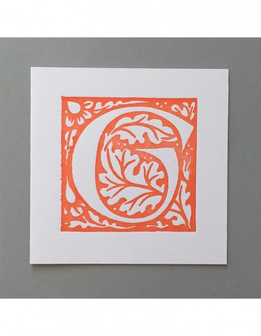 William Morris Letterpress - 'G' Greetings Card (orange)