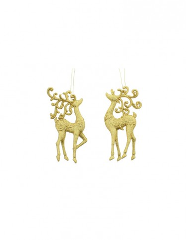 Gold Glitter Reindeer Decoration