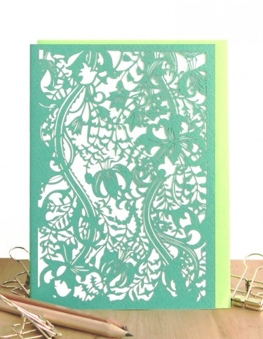 Golden Lillies (green) Laser Cut Card
