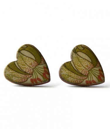 Heart shaped earrings, with cream, green and red design.