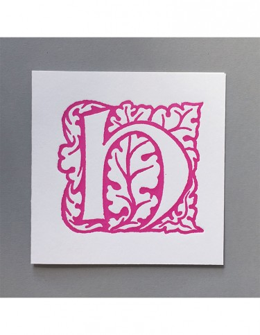 William Morris Letterpress - 'H' Greetings Card (pink)