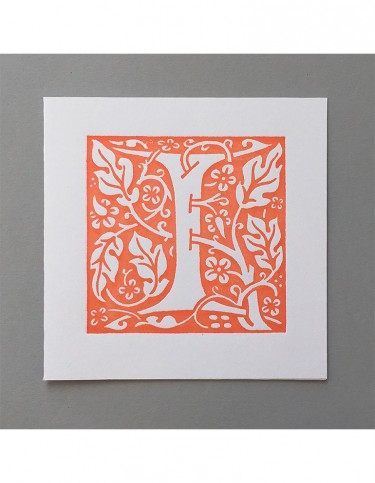 William Morris Letterpress - 'I' Greetings Card (orange)