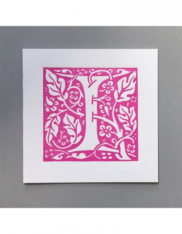 William Morris Letterpress - 'I' Greetings Card (pink)