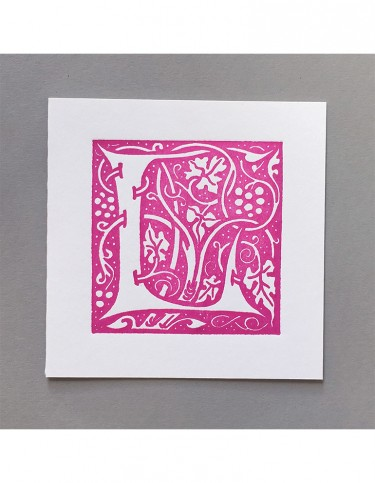 William Morris Letterpress - 'L' Greetings Card (pink)