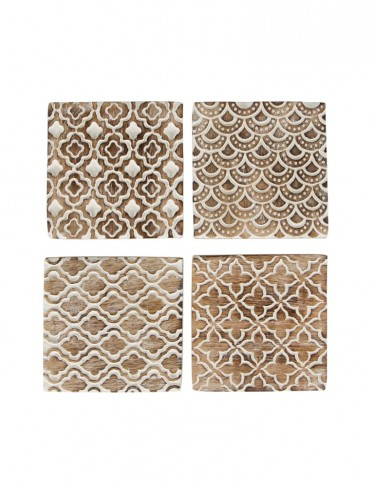 Rustic Wood Moroccan Style Coasters - set of 4