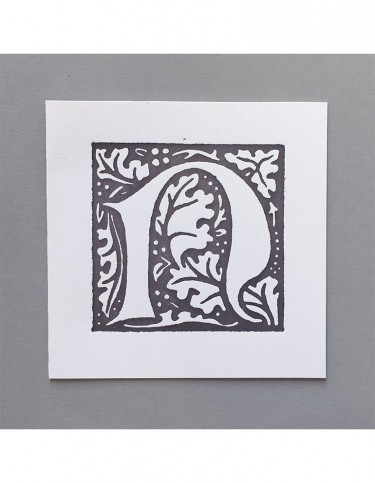 William Morris Letterpress - 'N' Greetings Card (grey)