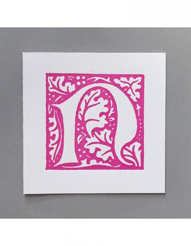 William Morris Letterpress - 'N' Greetings Card (pink)