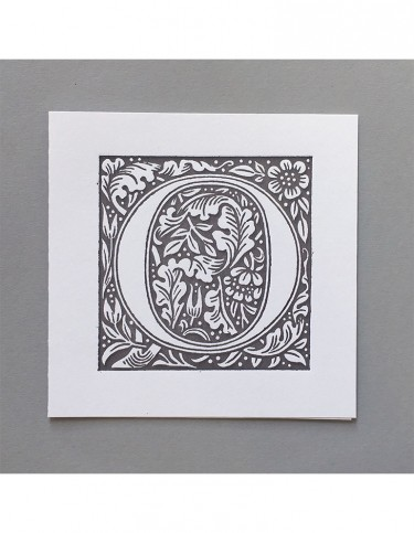 William Morris Letterpress - 'O' Greetings Card (grey)