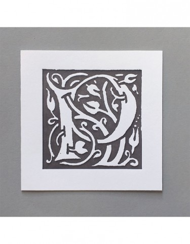 William Morris Letterpress - 'P' Greetings Card (grey)