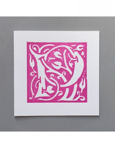 William Morris Letterpress - 'P' Greetings Card (pink)