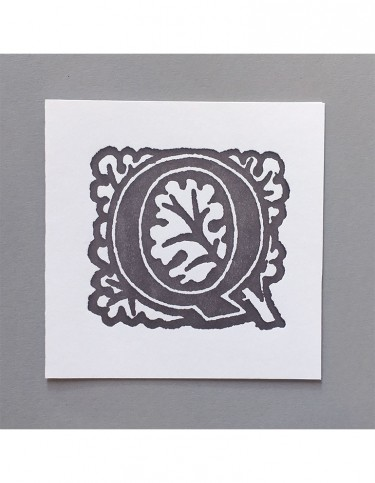 William Morris Letterpress - 'Q' Greetings Card (grey)