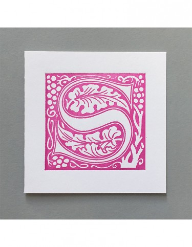 William Morris Letterpress - 'S' Greetings Card (pink)