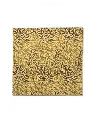 Fabric napkin printed with green and cream design of Willow boughs