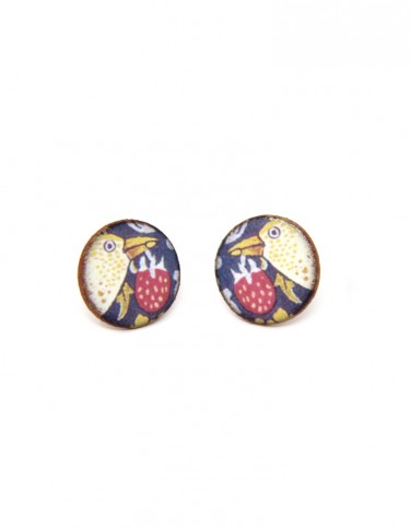 Strawberry Thief Round Stud Earrings