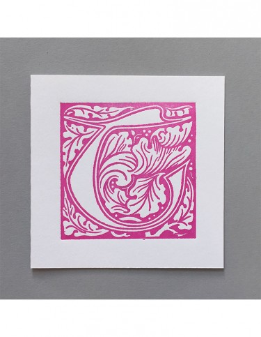 William Morris Letterpress - 'T' Greetings Card (pink)