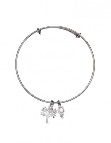Silver Origins - Tree of Life and Moonstone Bangle