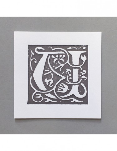 William Morris Letterpress - 'U' Greetings Card (grey)