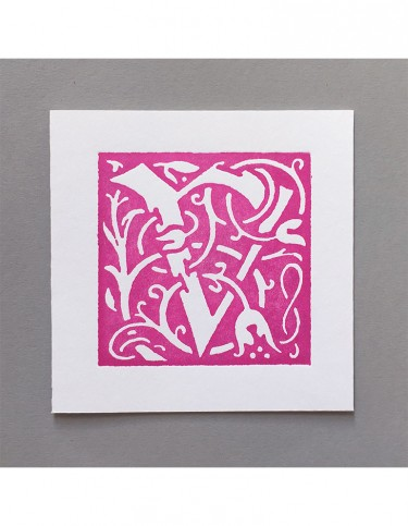 William Morris Letterpress - 'V' Greetings Card (pink)
