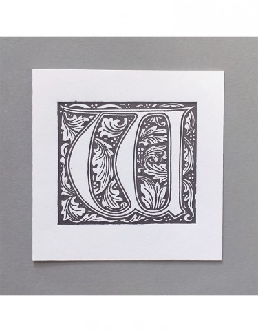 William Morris Letterpress - 'W' Greetings Card (grey)