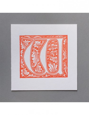 William Morris Letterpress - 'W' Greetings Card (orange)