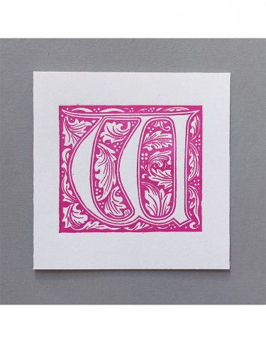 William Morris Letterpress - 'W' Greetings Card (pink)