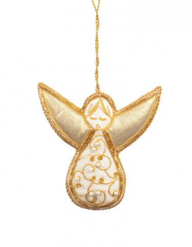 White and Gold Beaded Angel Decoration