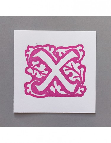 William Morris Letterpress - 'X' Greetings Card (pink)