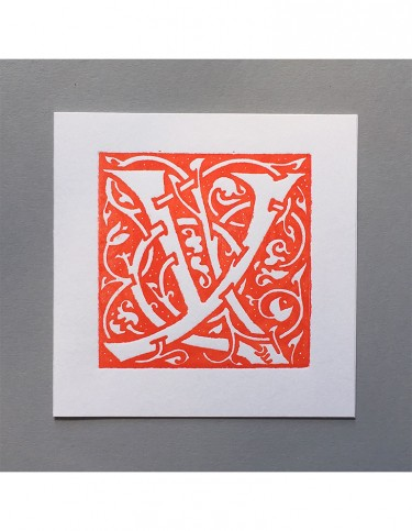 William Morris Letterpress - 'Y' Greetings Card (orange)
