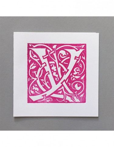 William Morris Letterpress - 'Y' Greetings Card (pink)