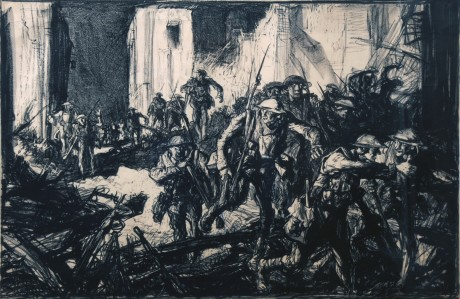 Soldiers in ruins of town