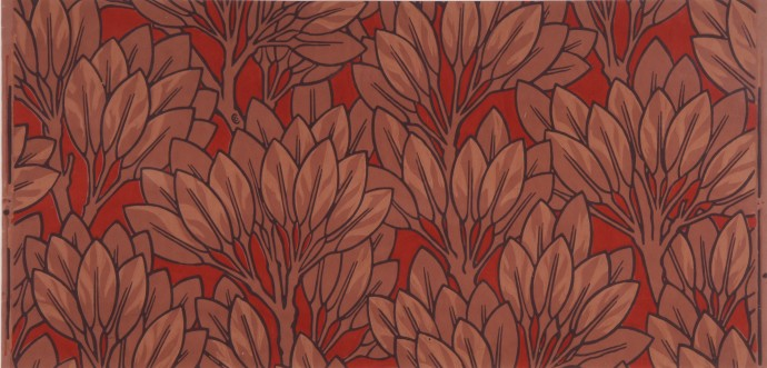 Sprigs of light brown bay leaves on red background