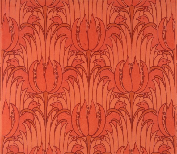 Pigeons among stylised tulips and sheaves of leaves in tones of red and orange