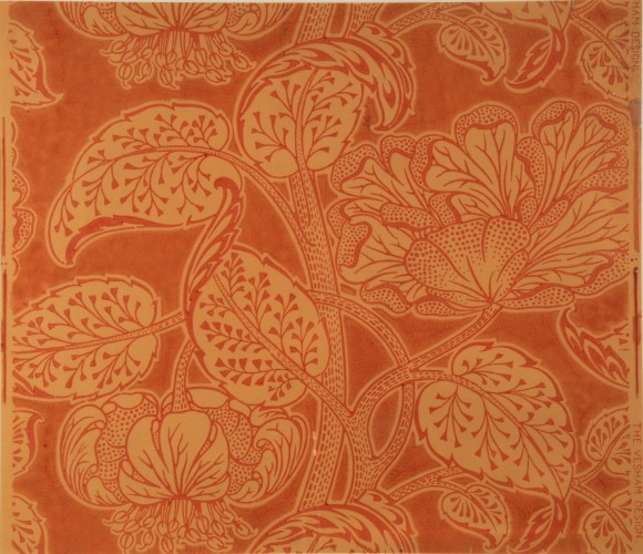 Lilies and large flower heads, rust brown on buff background
