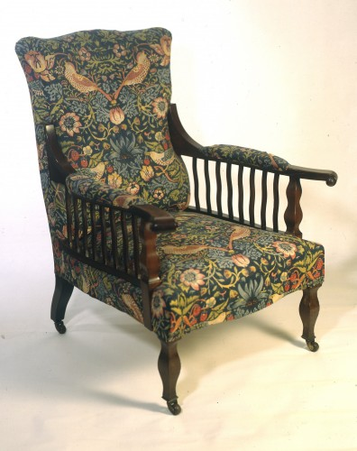 wooden and fabric armchair