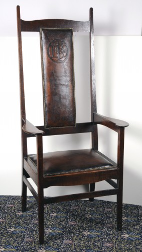 High-backed wooden chair