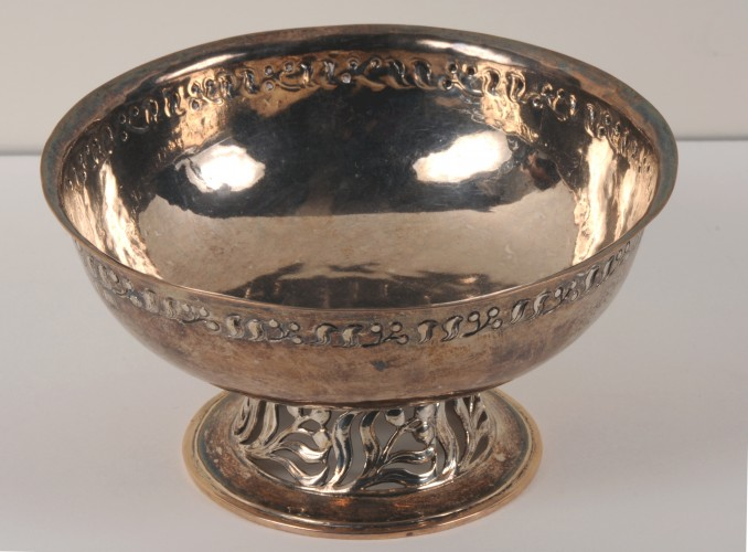silver bowl with punched decoration