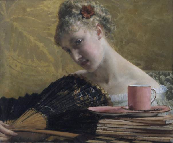 Oil painting of a young women with a fan