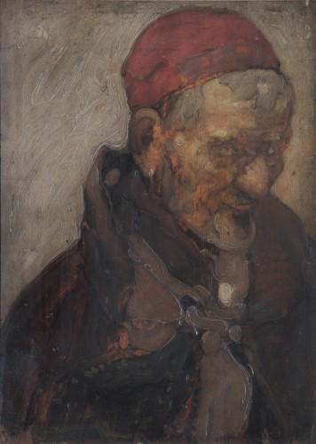 Head and shoulders of an old man wearing a red cap