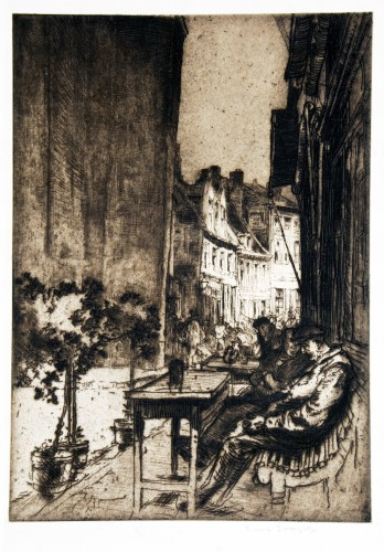 Figures seated on benches at tables outside cafe, view down sunlit street with figures in background