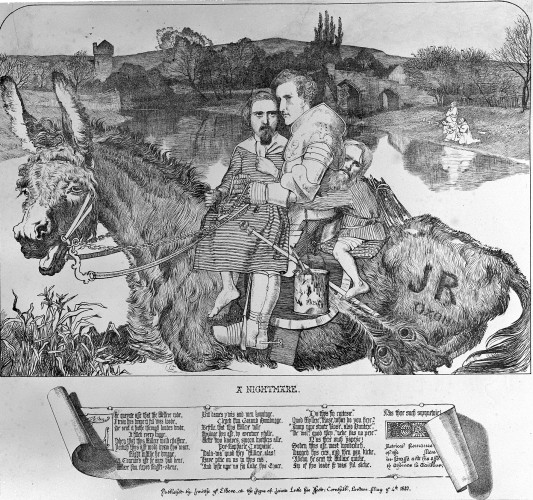 Three men on a donkey in front of a river scene, with the text of a poem on a scroll below