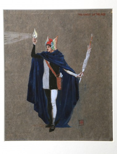 Cloaked standing man holding lamp and feather