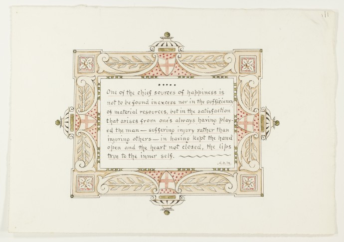 Design for ornamented text, in buff, green and pink.