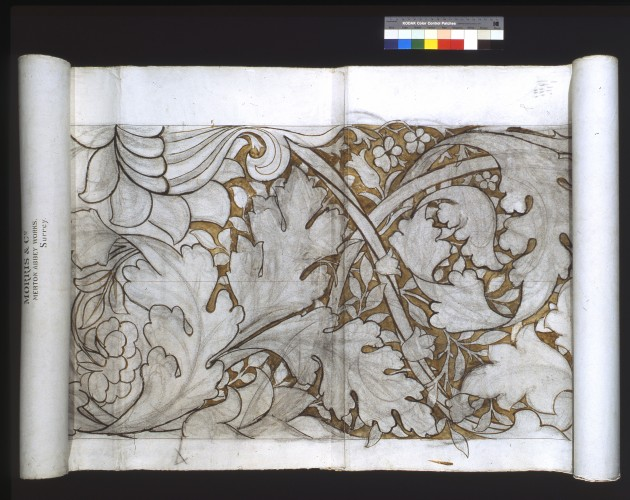 Rolled cartoon showing monochrome design with acanthus leaves