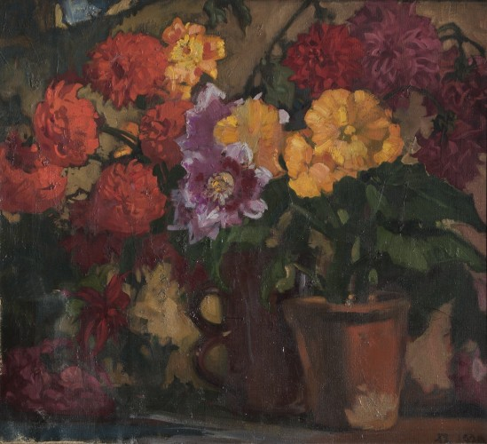 Two pots with flowers