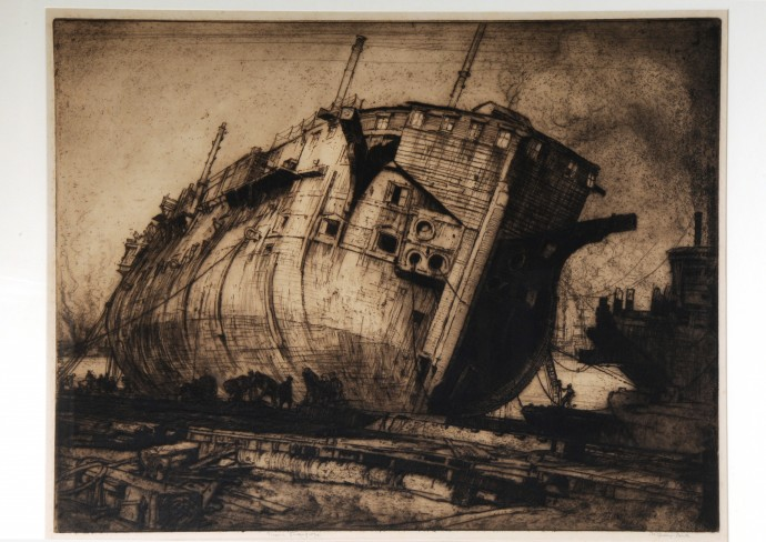 Etching of a ship in a dry dock