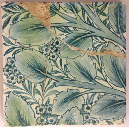 tile, handpainted with bay and willow design