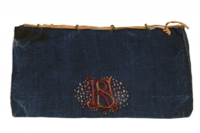 blue bag with RS initials embroidered