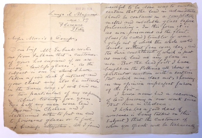 Letter from William de Morgan to Morris & Co concerning the use of lead glazes in his cermics.