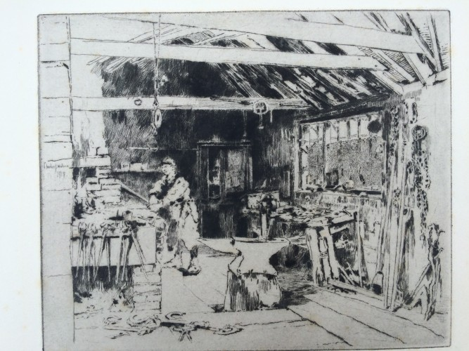 man working inside a blacksmith shop with anvil in middle room